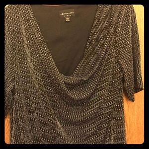 Women's Black Metallic Draped Neck Dress Size 20